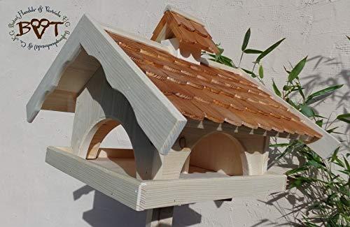 vogelhaus,groß,mit ständer,K-VONI5-MS-dbraun001 NEU MASSIVES GANZJAHRES PREMIUM-Qualität,Vogelhaus,+ NISTKASTEN IN EINEM (VOLL FUNKTIONSFÄHIG mit Reinigungsvorrichtung) !!! KOMPLETT mit Ständer !!! wetterfest lasiert, Qualität Schreinerware 100% Massivholz – VOGELFUTTERHAUS MIT FUTTERSCHACHT-Futtersilo Futterstation Farbe braun dunkelbraun schokobraun rustikal klassisch, Ausführung Naturholz MIT TIEFEM WETTERSCHUTZ-DACH für trockenes Futter - 4