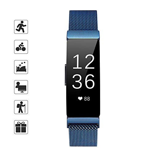 TOMALL Metal Bands Compatible for Fitbit Inspire and Fitbit Inspire HR,Stainless Steel Metal Wristband for Women Men (Small, Blue)