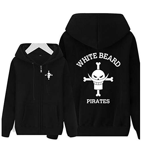 QYIFIRST Herren Damen Anime Pullovershirt Kapuzenpulli Hoodie Jacke Coat Mantel Pirates Piece Whitebeard Cosplay Kostüm Adult Schwarz Asian Size M (Chest 98cm)