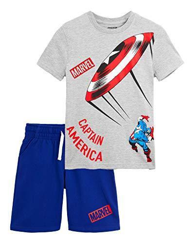 Marvel Avengers Schlafanzug Jungen Kurz, Baumwolle Pyjama, T Shirt und Kurze Hosen Nachtwäsche Set, Sommer Schlafanzug Kinder und Teenager, Geschenke für Kinder (Grau/Blau, 12 Jahre)