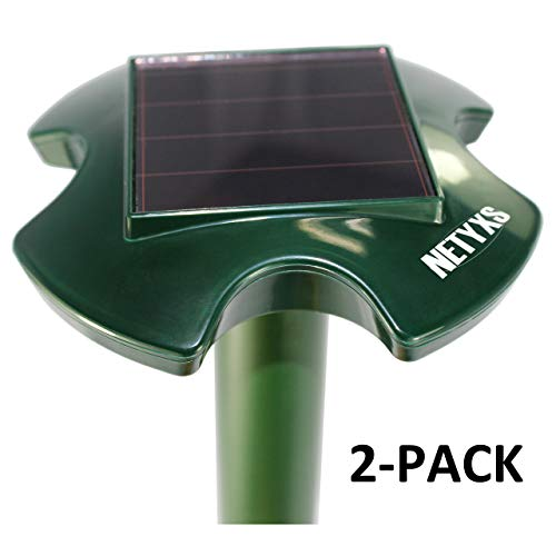 Solar Powered Ultrasonic Repeller For Moles, Rodents, Snakes, Rats, Gophers, Mice, Outdoor for Lawn Garden Farm, Waterproof, Pest Control Repellent, Pack of 2, Vole Chaser, Trap, Plague Deterrent