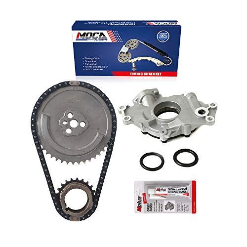 MOCA Timing Chain Kit & Oil Pump Compatible with 02-04 Cadillac Escalade 5.3L/6.0L & for Chevrolet Avalanche 1500 5.3L & 01-04 for Chevrolet Silverado 2500 HD/3500 6.0L V8 OHV