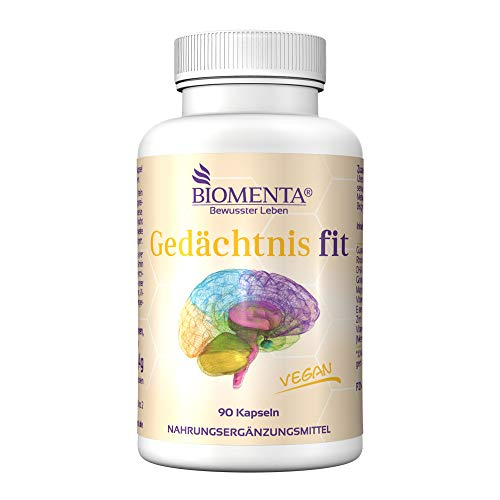 BIOMENTA Gedächtnis fit - vegan - mit 300mg DHA (Omega-3), Guarana (Koffein), Rhodiola, Ginkgo Biloba, Vitamin C, Magnesium, Eisen, Zink, Vitamin B12 - 90 Gedächtnis Kapseln