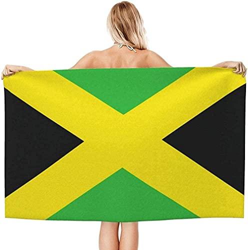 Strandtuch für Erwachsene,Jamaika-Flagge Jamaika,Absorbierende Tragbare Leichte Deckentücher Weiche Badetücher für Strandpool SPA Gym Travel 130x80cm