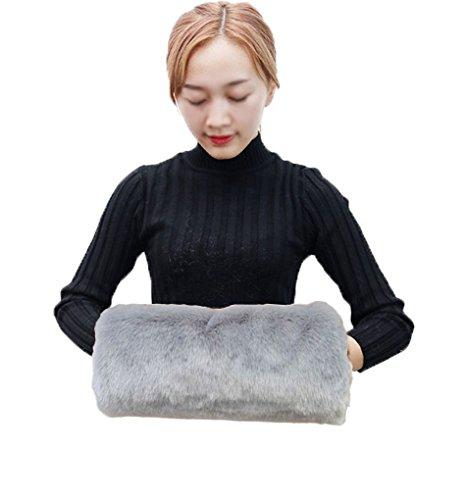Demarkt Damen Muff Handwärmer aus Kunstpelz Kunstfell-Muffs Frauen Kunstfell Hand Muff Handwärmer (Grau)