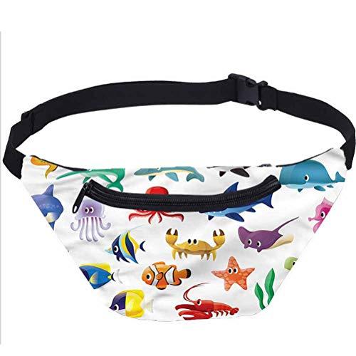 Paquete de riñonera de ballena,Elementos marinos calamar pescado cintura bolsa regalo para el intercambio de elefantes blancos,Navidad