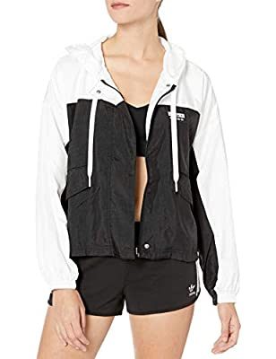 adidas Originals Women's Windbreaker Jacket, White/black, Large