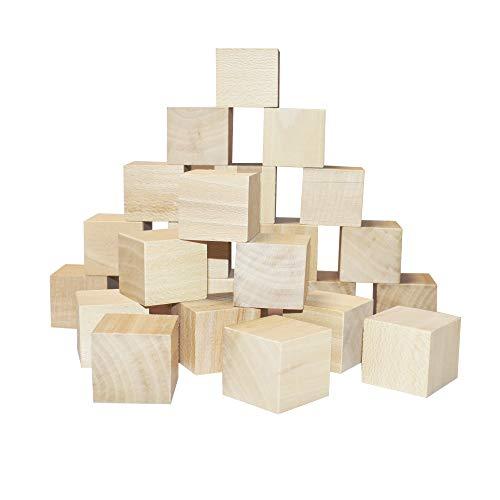 12pcs Cubos de Madera Bloques Cuadrados para Manualidades, Artesanía, para pintar, Decoración (4x4cm)