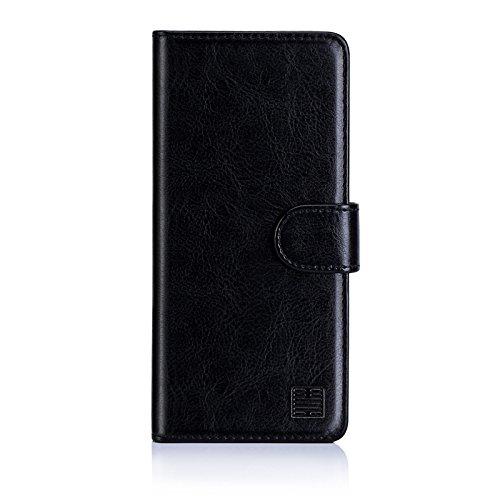 32nd PU Leder Mappen Hülle Flip Hülle Cover für Sony Xperia L2, Ledertasche hüllen mit Magnetverschluss & Kartensteckplatz - Schwarz
