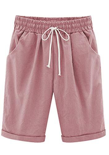 Elonglin Damen Bermuda Shorts Baumwolle Knielang Sommer Kurze Hose mit Tunnelzug Frauen Große Größen Locker Stretch Pink DE XXL(Asie 4XL)