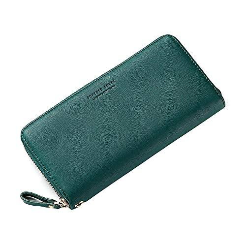 ZGRHZY portemonnee mode dames portemonnee lieve ID-kaart, leer lange koppelingskaart met ritssluiting