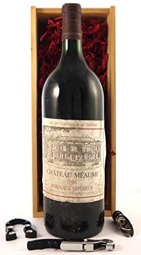 Chateau Meaume 1986 Bordeaux Superieur MAGNUM en una caja de regalo con cuatro accesorios de vino, 1 x 1500ml