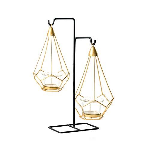 MoGist Dekorativer Kerzenhalter Kreativer Gold Geometrischer Durchbrochene Kerzenleuchter Tischdekoration Kerzenständer Home Hochzeit Kandelaber (Stil-4)