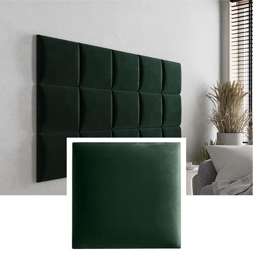 Mocadu Wandkissen 4er Set - Wandverkleidung Samt mit 50 mm Polsterung - 3D Rechteck Wandkissen - Wanddeko - Wandpolster - Dekoration modern | 30 x 30 (Dunkelgrün RV38)