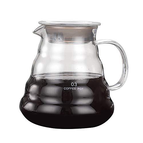 Urijk コーヒーサーバー 耐熱 ガラスコーヒーポット 透明なコーヒーケトル 茶ポット 冷水筒 ガラス ピッチャー 口径が広くお手入れ楽々 (800ml)