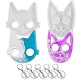 2 piezas Fox y Cat llaveros con forma de gato de resina, molde de silicona de cristal epoxi colgante para manualidades de resina, colgante de fabricación de accesorios