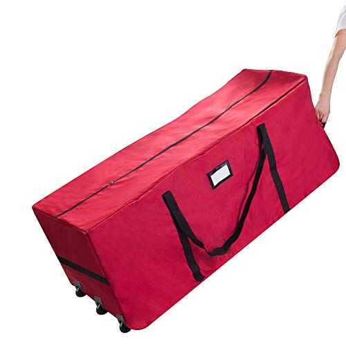 Elf Stor 83-DT5170 Premium Red Rolling Duffel Style Christmas Storage Bag-Holds a 12 Foot Artificial Tree