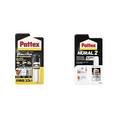 Pattex Barrita Arreglatodo Masilla bicomponente, pasta moldeable para pegar y reparar, 48 g + Pattex Nural 2 Reparador de esmalte y porcelana, esmalte permanente blanco para desconchados,1 x 5