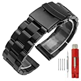 20mm Black Matte Wristband Solid Stainless Steel Watch Band with Deployment Lock Buckle for Men Women