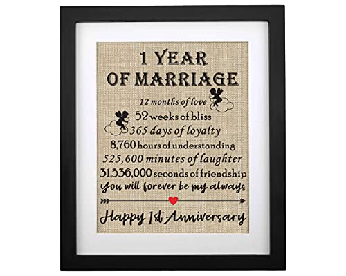 Framed 1st Anniversary Burlap Print Gifts for Couple 1st Wedding Anniversary Keepsake Gift for Husband Wife Paper Anniversary 1 Year of Marriage