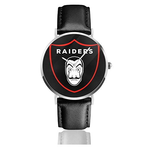 La Casa De Papel Oakland Raiders Salvador Dali Logo NFL Armbanduhr Quarzuhr Leder Schwarz Lederband für Herren Damen Young Collection Geschenk