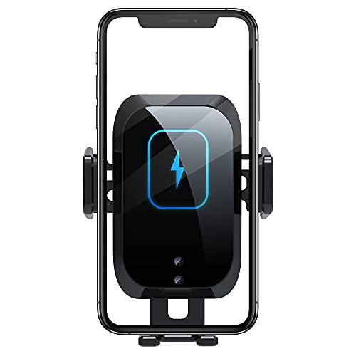QINJIE Cargador de Coche inalámbrico, Soporte de Cargador de Coche de sujeción automática de Carga rápida de 15 W, Compatible con iPhone 8/8 Plus x XS XS MAX XR 11 11 Pro Pro MAX Samsung