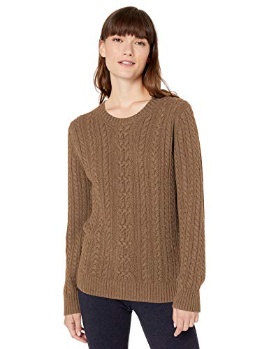 Amazon Essentials Fisherman Cable Crewneck Sweater pullover-sweaters, Camel Heather, US S (EU S - M)
