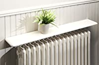 Manufactured from 1.5cm thick x 13cm deep MDF with a total of 3 coats of satin white paint applied. Ideal for use over any radiator simply fix brackets to shelf and slot behind the radiator. Helps deflect the heat back into the room Easy Home Assembl...