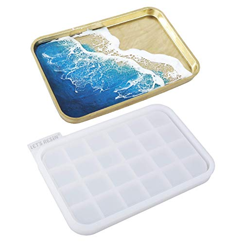 LET'S RESIN Resin Tray Mold,Rectangle Rolling Tray Molds for Resin,Sturdy...