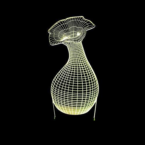 HOHHJFGG Vase 3D Nachtlicht visuelles Stereolicht farbenfrohe Touch-Fernbedienung kreatives 3D-Licht