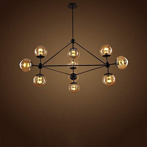 Kroonluchter van ijzer, industrieel licht, lamp, verlichting, bonen vorm, magisch, om op te hangen, voor restaurant, licht, eetkamer, keuken, eiland, plafondlamp (maat: tien koppen)