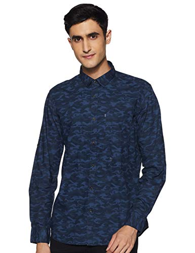 Amazon Brand - Inkast Denim Co. Men's Printed Slim Fit Casual Shirt (SS20-INK-SH-200_PNT3865A_Navy L)