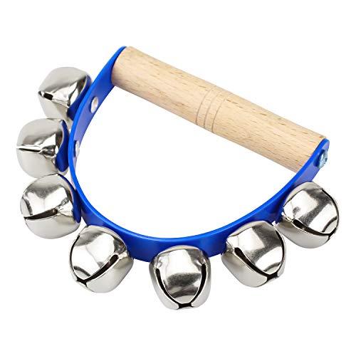 Hand Tambourin, Homgaty Schellenring Handtrommel mit 7 Glöckchen, Tamburin Holzgriff Schlagzeug Glockenkranz für Kinder, Blau