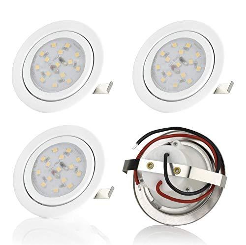 Sweet Led Design Plat Spot LED encastrable Ultra Plat | Applique encastrables Meubles – | 230 V | 4er Pack-weiß Rahmen - Warmweiß