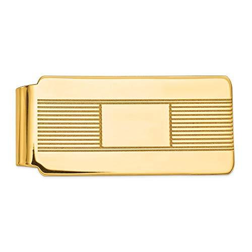 Geldklammer aus 14 Karat Gelbgold, massiv, poliert, gravierbar, Schmuck, Geschenke für Männer