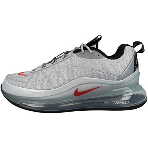 Nike Mx-720-818 Herren Laufschuhe Cw2621 Sneakers Schuhe, Grau - Metallic Silber Universität Rot Schwarz - Größe: 47 EU