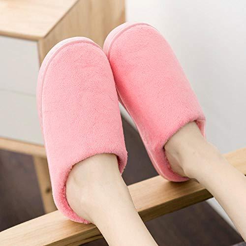 SWX-FlipFlop Zapatillas de algodón cálidas para el hogar Pareja Simple Fondo Grueso para el hogar Hombres cálidos de Interior Rosa 36/37 (Adecuado para 35/36 pies)