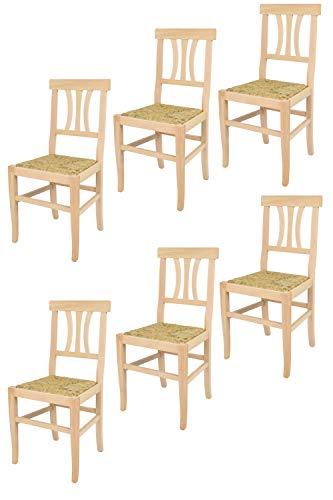 t m c s Tommychairs - Set 6 sillas Artemisia para cocina y comedor, estructura en madera de haya lijada, no tratada, 100% natural y asiento en paja
