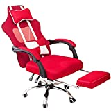 WSDSX Office Chairs Gaming Chair Ergonomic Foldable Chair Legs Swivel Heavy Duty High Back Office PC Desk Chair with Lumbar Cushion (Color : Red)