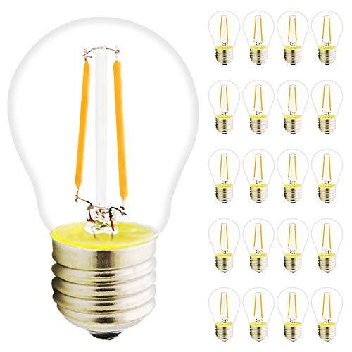 Paquete de 20 bombillas LED de filamento G45 E27 de 2 W, 180 lúmenes, sustituye a 20 W incandescente, no regulable, luz blanca cálida, 2700 K, ángulo de haz de 360°, ideal para Nostalgia