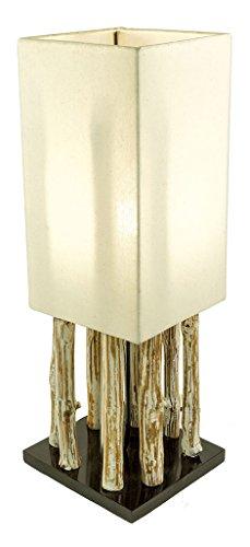 *levandeo Lampe Tischlampe/Tischleuchte aus recyceltem Holz – Design Holzlampe Treibholz 17x17cm 51cm hoch – Jede Lampe Ein Unikat naturbelassenes Massivholz*