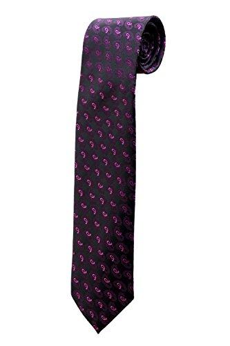 Cravate noire avec petits paisley roses DESIGN costume homme mariage cérémonie