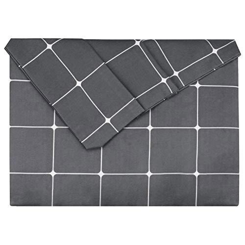 Lirex Påslakan, dubbel storlek mjuk borstad mikrofiber polyester täckskydd, rynkfärgad/mattbeständig andas maskintvättbar täcke, grafitgrå rutnät