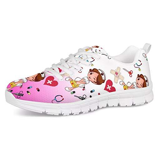 Zapatillas de Deporte para Mujer jóvenes, Zapatos para Correr con patrón médico de Enfermera, Zapatos Deportivos de Malla de Aire Transpirables, Zapatos Casuales de Encaje Plano 40EU
