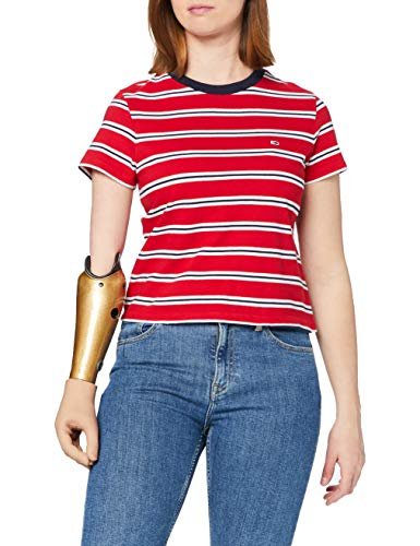 Tommy Jeans TJW Regular Contrast Baby tee Camiseta, Carmesí profundo, M para Mujer