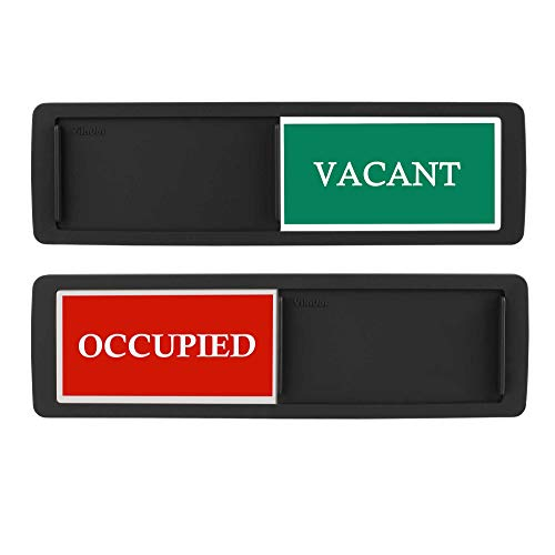 Privacy Sign, Premium Vacant Occupied Sign for Home Office Restroom Conference Hotles Hospital, Slider Door Indicator Tells Whether Room Vacant or Occupied, 7'' x 2'' - Black
