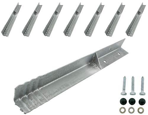 HOQ 8 x Sicherheits-Winkelanker 45x45x500mm Bodenanker Schaukelanker Spielturm Erdanker für Spieltürme, Schaukeln, etc.
