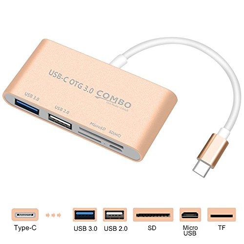 USB C Micro SD/MMC/SD Card Reader + USB 3.0Typ A Power) Laden Port Hub Adapter, sourceton USB C bis SuperSpeed-USB, TF Micro SD & SD-Kartenleser Adapter mit Aluminium Fall, Gold Farbe