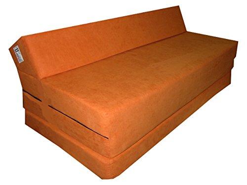 Natalia Spzoo Colchón plegable cama de invitados forma de sillón sofá de espuma 200 x 120 cm (Naranja 1333)