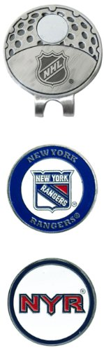 TEAM GOLF NHL New York Rangers Clip pour Casquette de Golf avec 2 marqueurs magnétiques Double Face Amovibles en émail, Se Fixe Facilement aux Chapeau